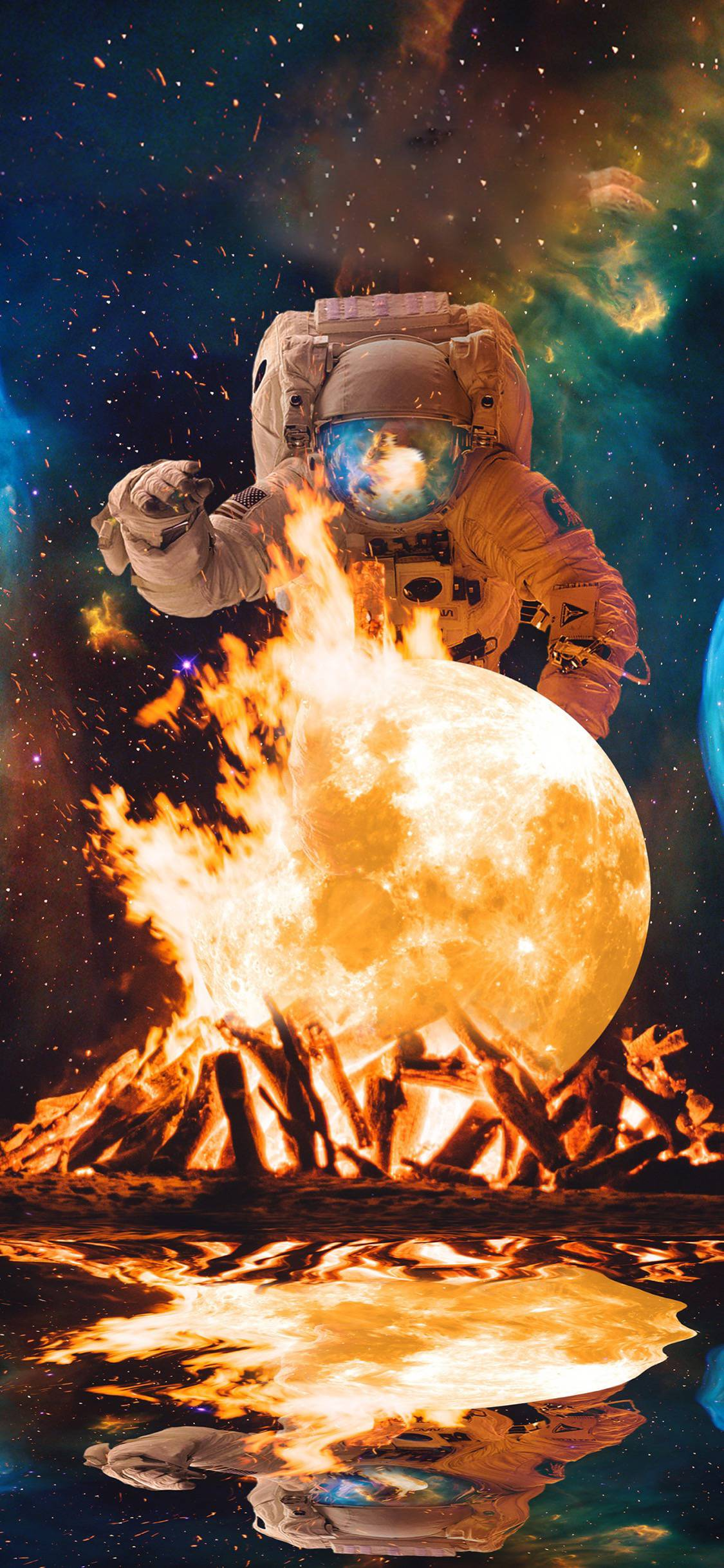 Космический очаг солнце космос космонавт земля звезды