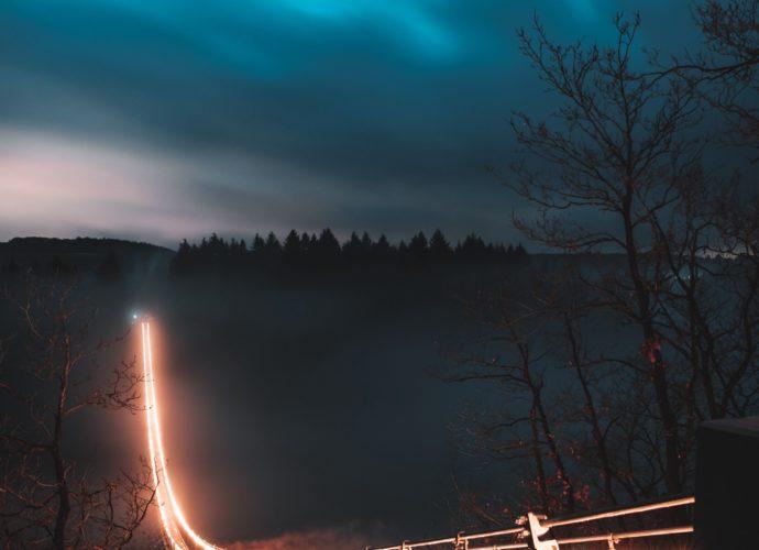 Мост в утро фонарик ночь мост