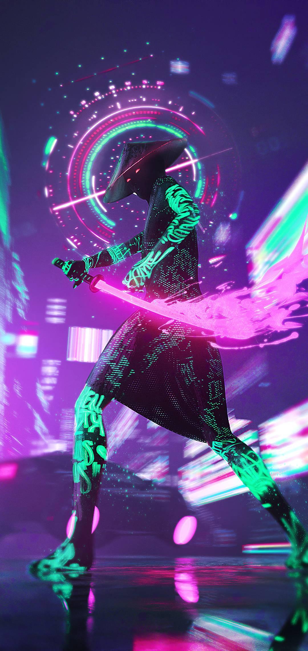 Неоновый самурай Япония самурай оружие ночь неон киберпанк