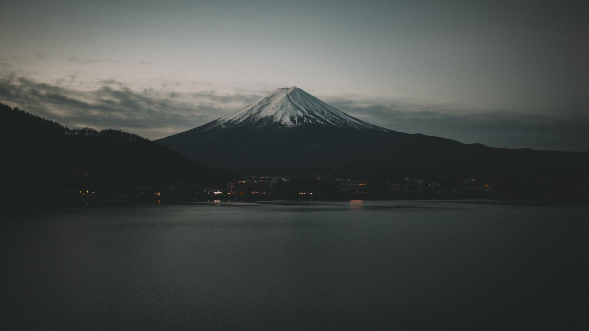 Гора Фудзияма Япония Фудзияма горы гора вечер