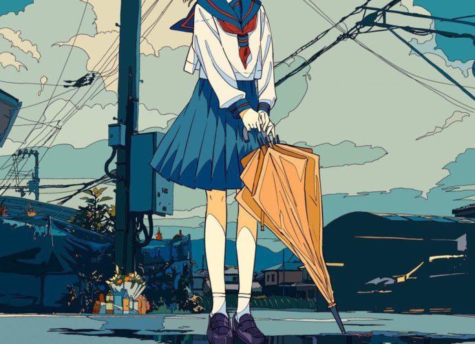 Жёлтый зонтик зонт дождь аниме