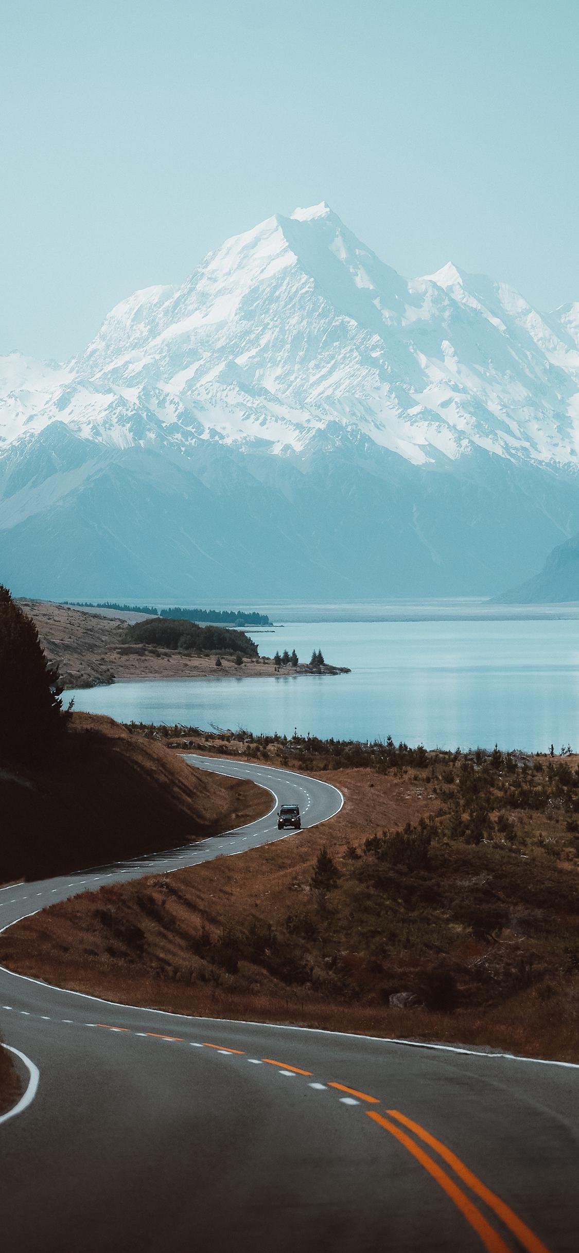 Озеро Пукаки, Новая Зеландия озеро лес дорога горы