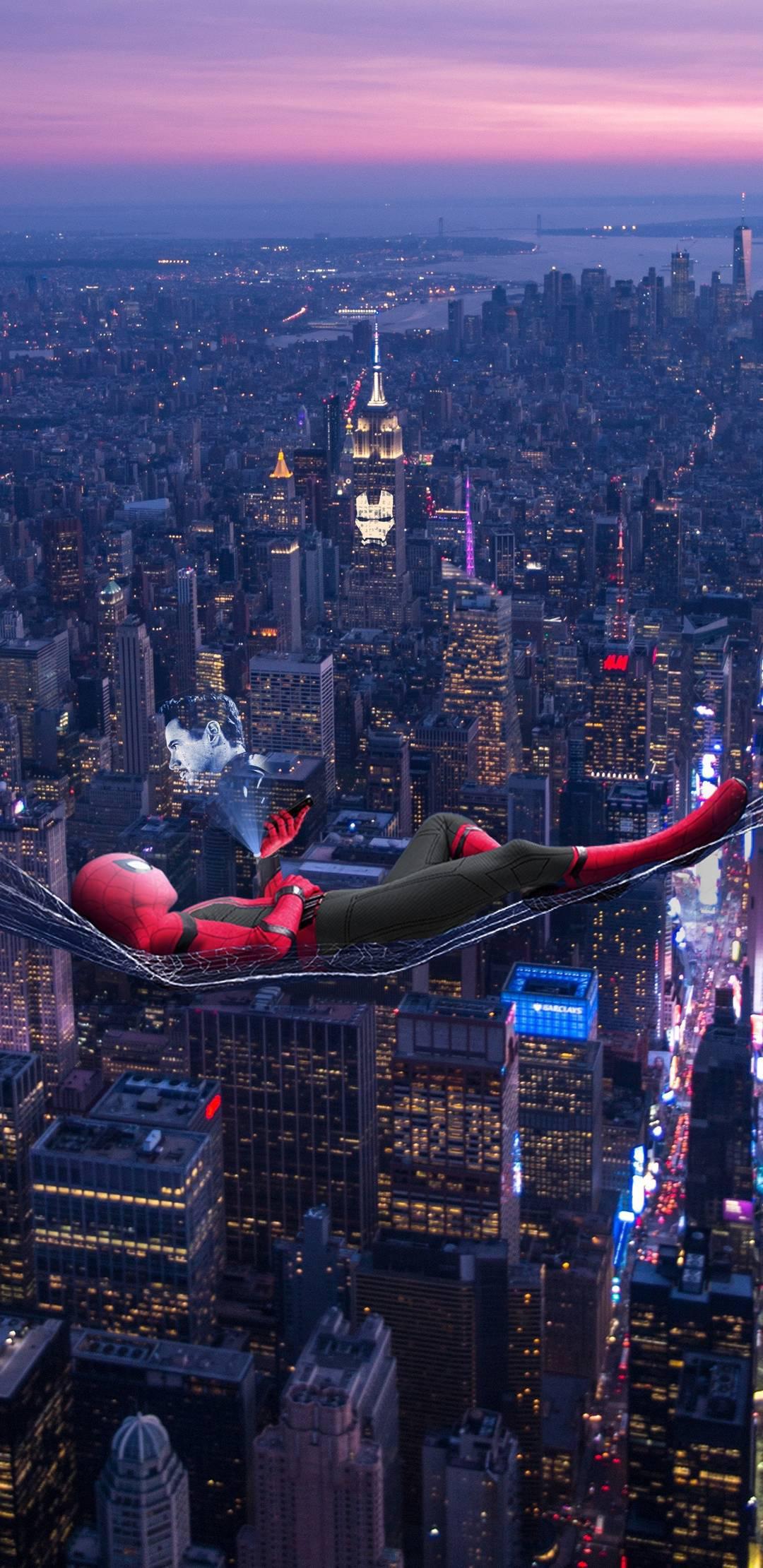 Спайдермен спайдермен ночь небоскребы город spiderman New-York