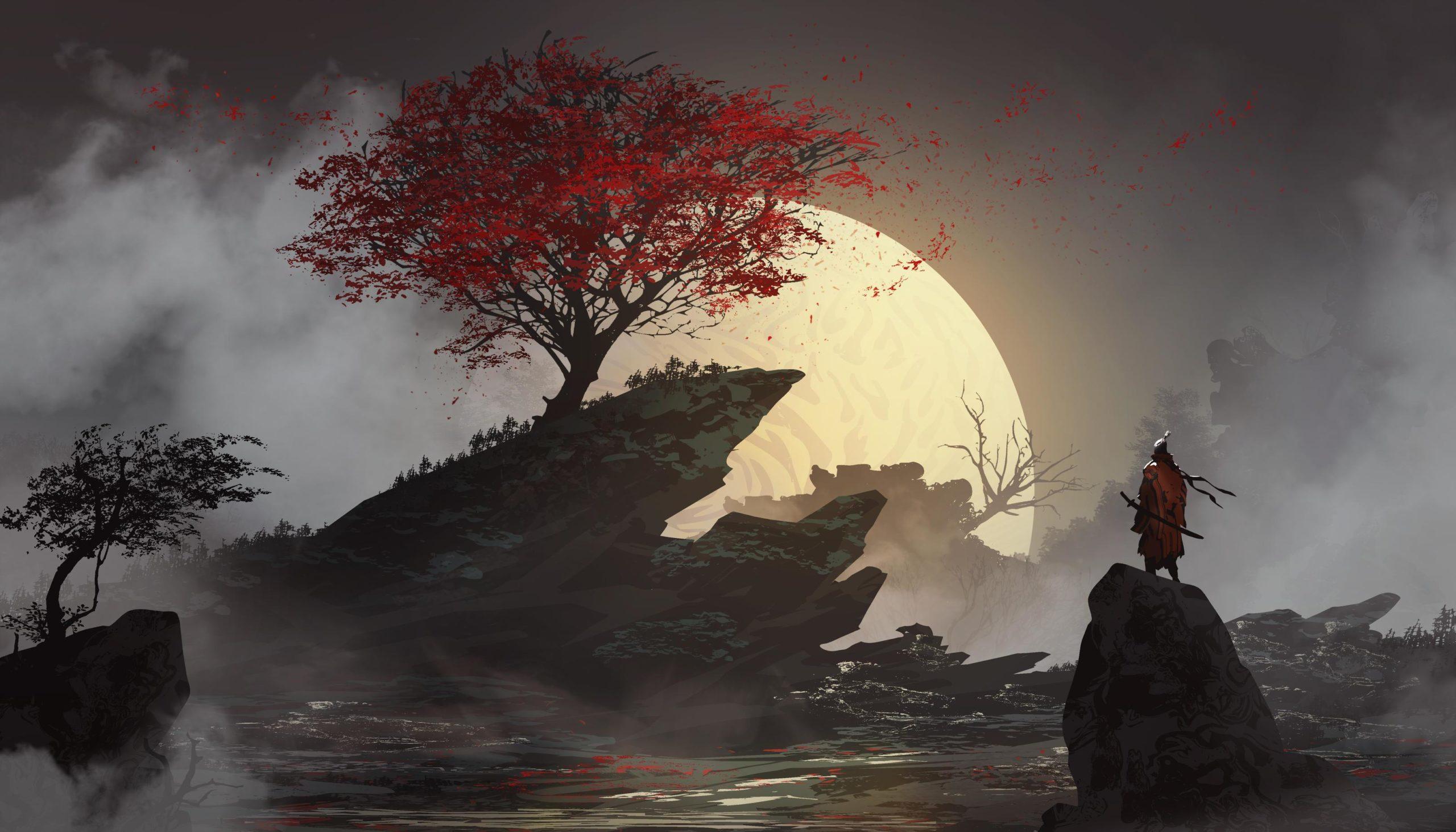 Одинокий самурай Япония самурай ночь луна