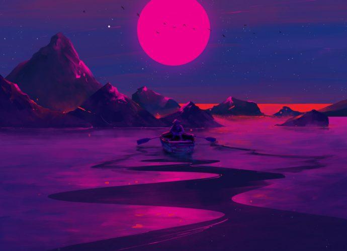 Неоновый закат неон лодка закат горы