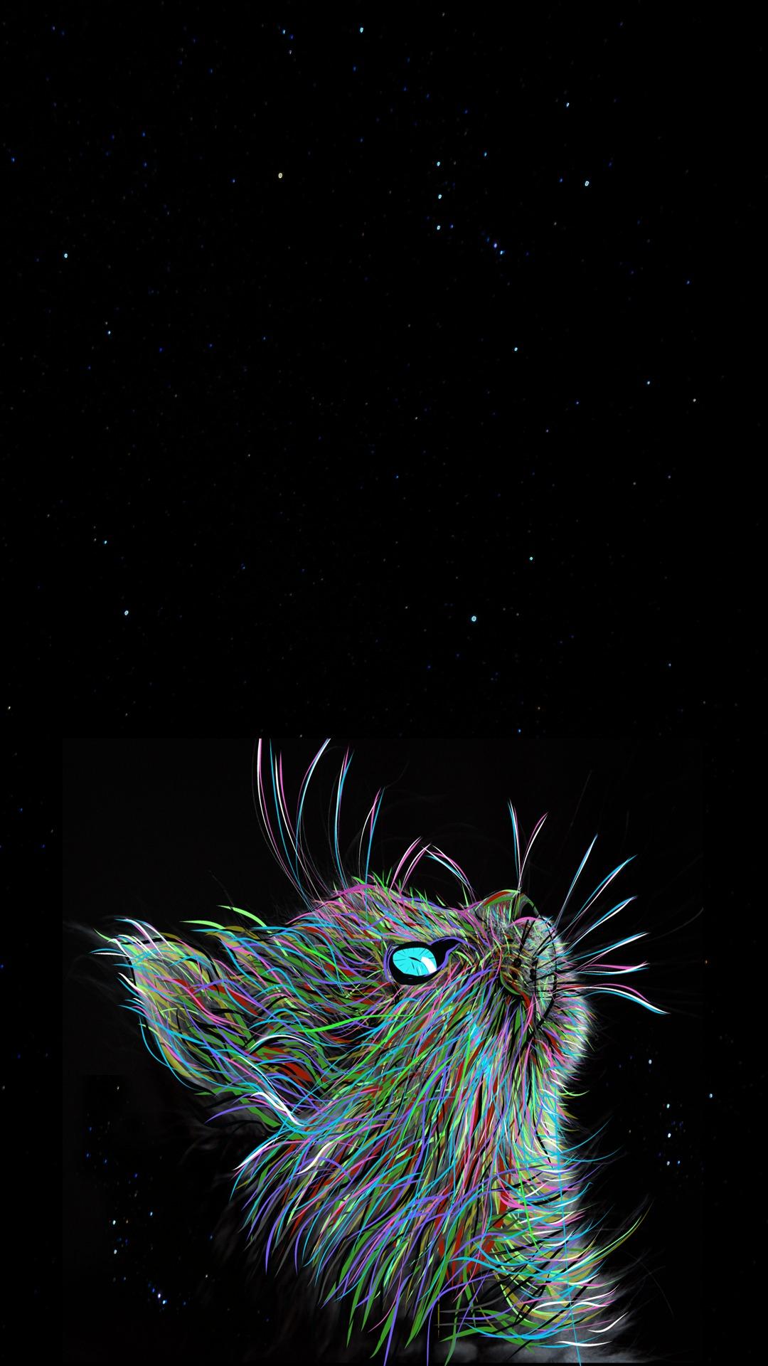 Неоновый кот неон краски кошка кот